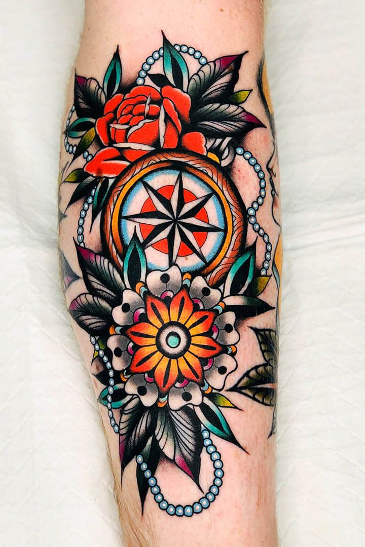 31+Awesome Compass Tattoo Ideas  with Meanings